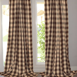 Poplin Buffalo Checkered Window Curtain 56 Inch Wide Brown and Beige