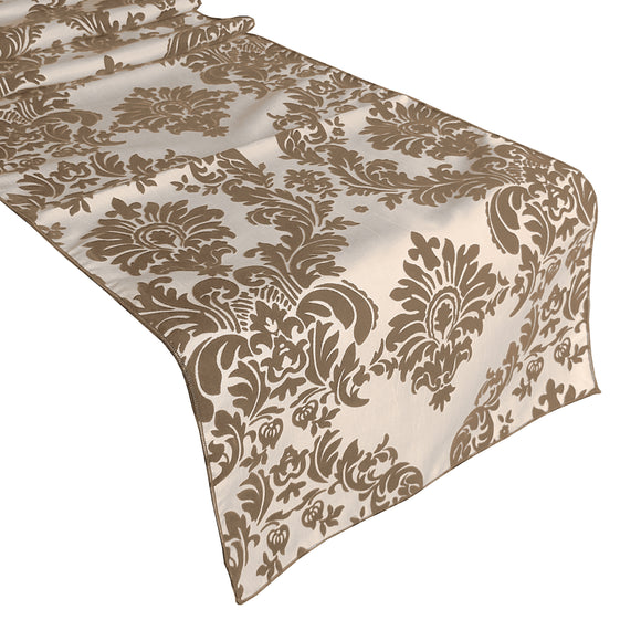 Flocked Damask Table Runner Brown on Ivory