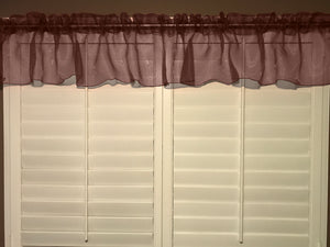 "Sheer Organza Window Valance 58"" Wide Solid Brown"