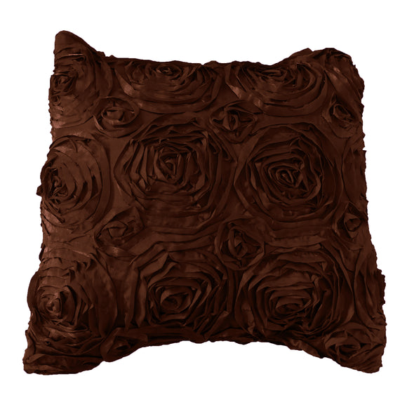 Satin Rosette Decorative Throw Pillow/Sham Cushion Cover Brown