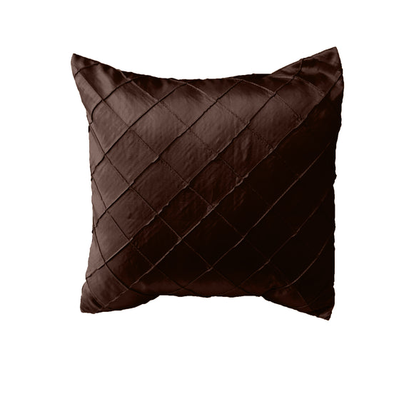 Pintuck Taffeta Decorative Throw Pillow/Sham Cushion Cover Brown