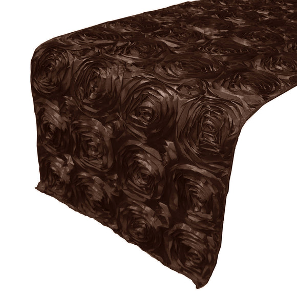 Satin Rosette Table Runner Raised Roses Brown
