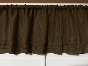 "Faux Burlap Window Valance 58"" Wide with Pleated Ruffles Brown"