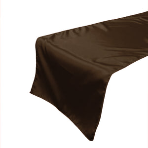 Shiny Satin Table Runner Solid Brown