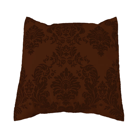 Flocked Damask Decorative Throw Pillow/Sham Cushion Cover Brown on Brown