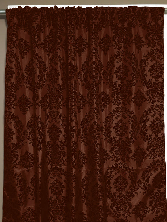 Flocking Damask Taffeta Window Curtain 56 Inch Wide Brown on Brown