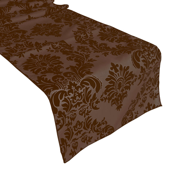 Flocked Damask Table Runner Brown on Brown