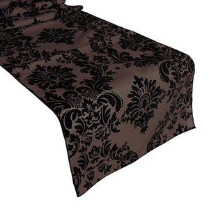 Flocked Damask Table Runner Black on Brown