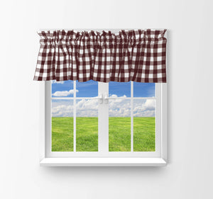 "Cotton Gingham Checkered Window Valance 58"" Wide Brown"