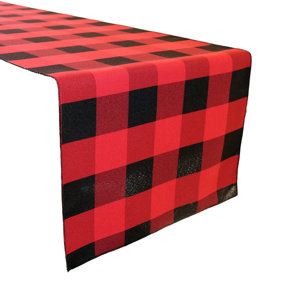 Poplin Table Runner Buffalo Gingham Checkered Red and Black