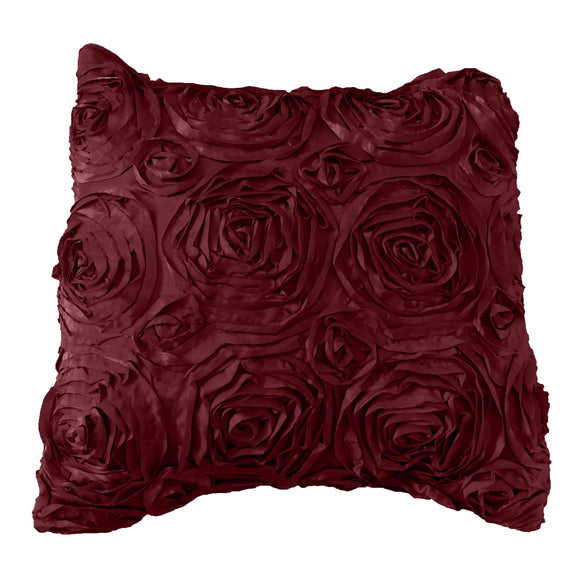 Satin Rosette Decorative Throw Pillow/Sham Cushion Cover Burgundy