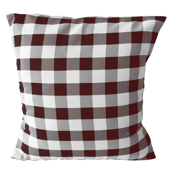 Gingham Checkered Decorative Throw Pillow/Sham Cushion Cover Burgundy & White