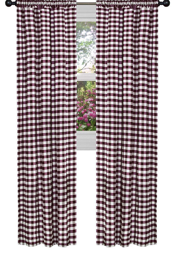 Poplin Gingham Checkered Window Curtain 56 Inch Wide Burgundy