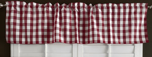 "Poplin Gingham Checkered Window Valance 58"" Wide Burgundy"