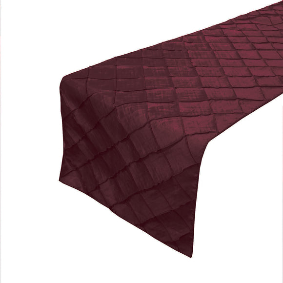 Pintuck Taffeta Table Runner Burgundy