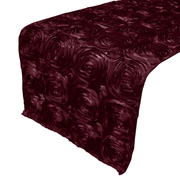 Satin Rosette Table Runner Raised Roses Burgundy