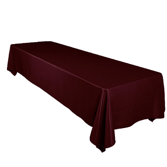 Shiny Satin Solid Tablecloth Burgundy