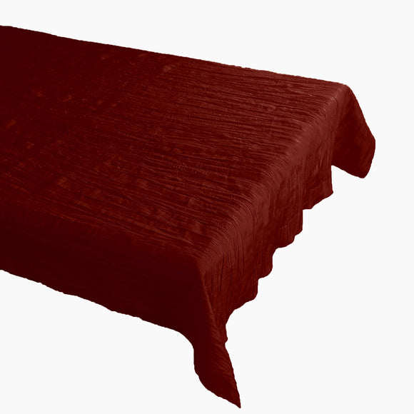 Crinkle Style Crushed Taffeta Tablecloth Burgundy