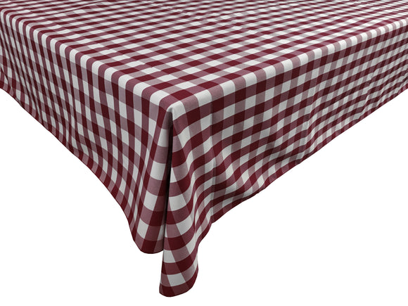 Poplin Gingham Checkered Plaid Tablecloth Burgundy