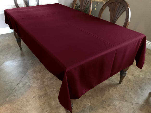 Solid Poplin Tablecloth Burgundy