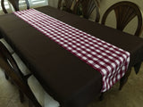 Poplin Table Runner Gingham Checkered Burgundy