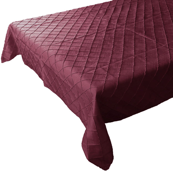 Pintuck Taffeta Tablecloth Burgundy