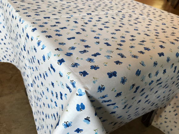Cotton Butterflies Tablecloth Blue