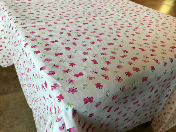 Cotton Butterflies Tablecloth Pink