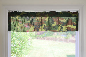 "Cotton Camouflage Print Window Valance 58"" Wide"