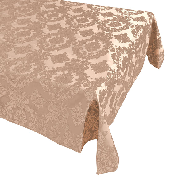 Flocking Damask Taffeta Tablecloth Beige on Beige