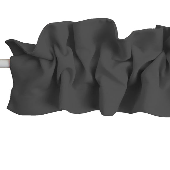 Solid Poplin Curtain Sleeve Topper Charcoal