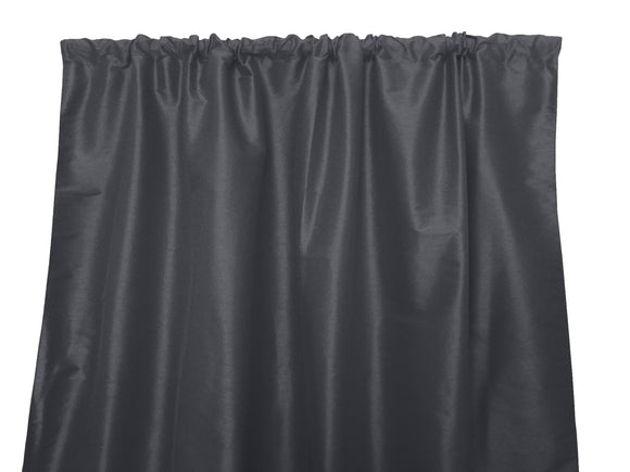 Faux Silk Solid Dupioni Window Curtain 56 Inch Wide Charcoal