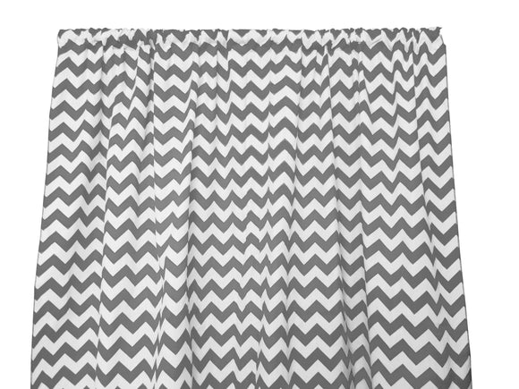 Cotton Zig-zag Chevron Window Curtain 58 Inch Wide Charcoal Grey