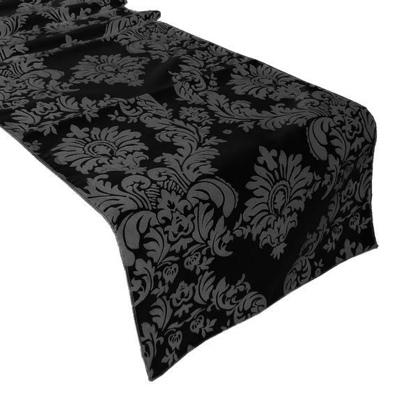 Flocked Damask Table Runner Grey on Black