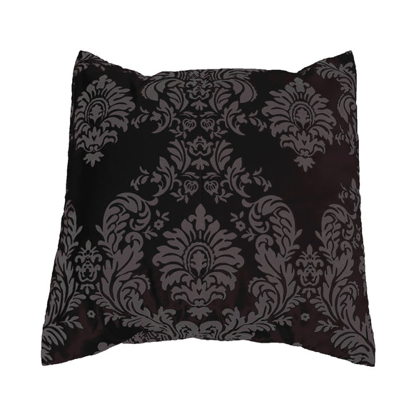 Flocked Damask Decorative Throw Pillow/Sham Cushion Cover Charcoal on Black