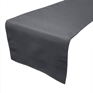 Poplin Table Runner Solid Charcoal Grey
