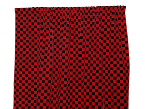 Cotton NASCAR Checkerboard Window Curtain 58 Inch Wide 1 Inch Red and Black