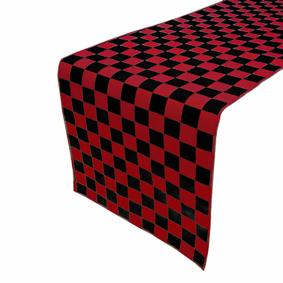 Cotton Print Table Runner Checkerboard NASCAR Red Black