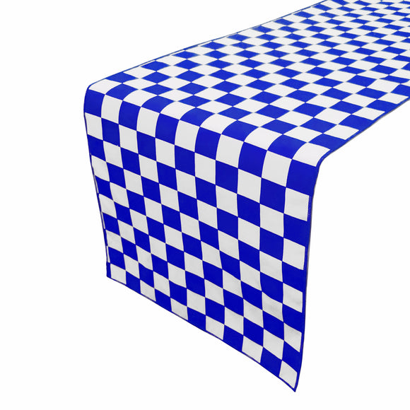 Cotton Print Table Runner Checkerboard NASCAR Blue