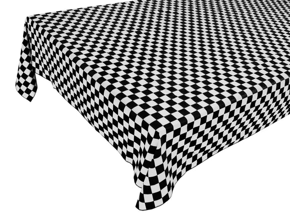 Cotton NASCAR Checkerboard Tablecloth 1 Inch Black and White