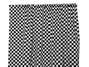 Cotton NASCAR Checkerboard Window Curtain 58 Inch Wide 1 Inch Black and White