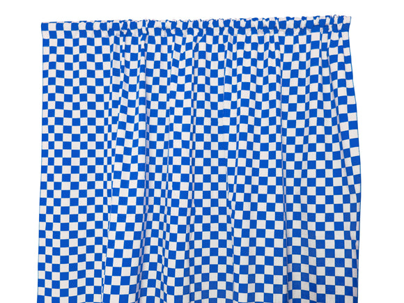 Cotton NASCAR Checkerboard Window Curtain 58 Inch Wide 1 Inch Blue and White