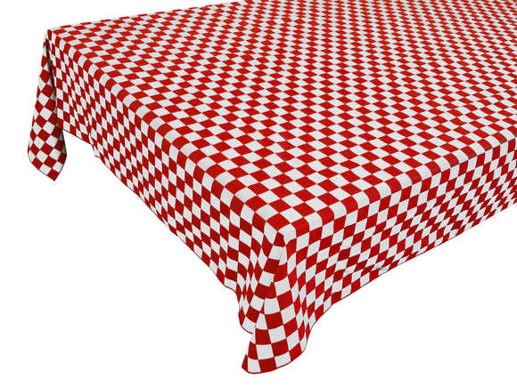 Cotton NASCAR Checkerboard Tablecloth Red