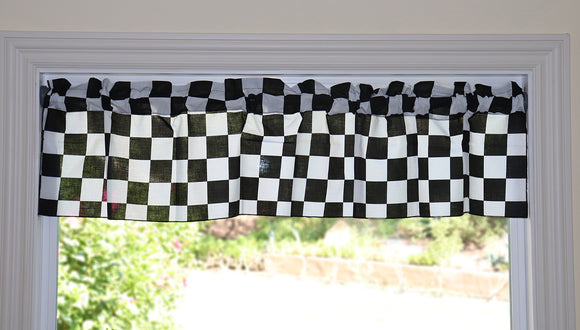 Cotton NASCAR Checkerboard Print Window Valance 58