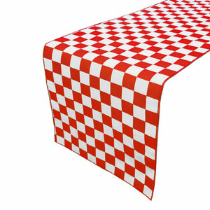 Cotton Print Table Runner Checkerboard NASCAR Red