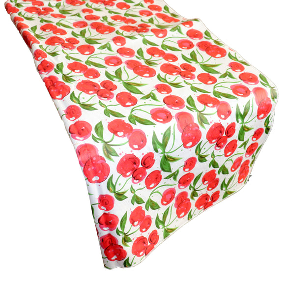 Plastic Table Runner Non-Slip Flannel Backing - Cherries