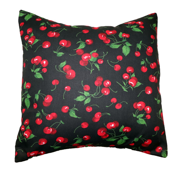 Cotton Cherries Print Decorative Throw Pillow/Sham Cushion Cover Black