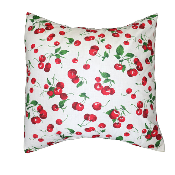 Cotton Cherries Print Decorative Throw Pillow/Sham Cushion Cover White