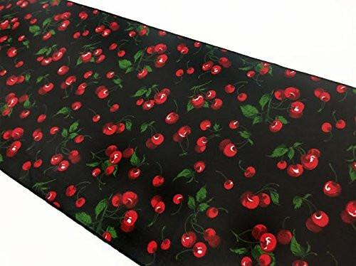 Cotton Print Table Runner Fruits Cherries Allover Black