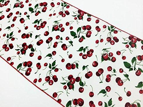 Cotton Print Table Runner Cherries Allover White